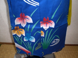 YUKATA and OBI for girls, age 3~4, iris/blue