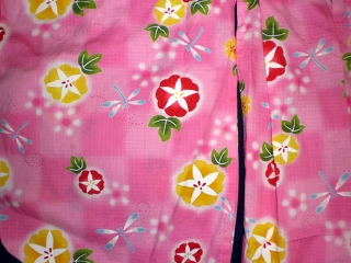 YUKATA for girls, morning glory and dragonfly