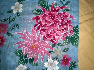 YUKATA for woman, light blue and flowers