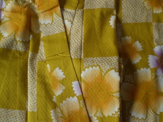 YUKATA set, yellow 4 her, with OBI and GETA