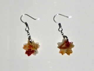 Pierced earrings, Japanese-patterned cloth