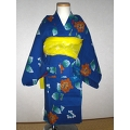 YUKATA and OBI for girls, age 3~4, hydrangea/blue