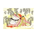 Greeting card, KIMONO lady and sakura