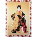 Greeting card, beautiful KIMONO girl