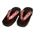 GETA for girl, flowers & leaves - pink