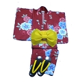 YUKATA set, red 4 her, with OBI and GETA